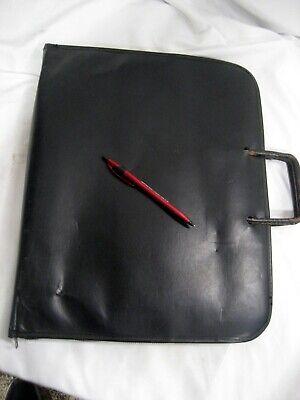Zt-15 Zippered Faux Leather Portfolio 13 X 16 X 1 Leather Retractable Handle