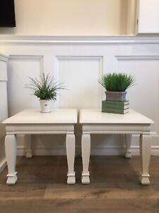 Pair of Antique White End / Side Tables