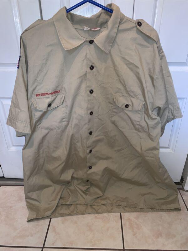 Boy Scout BSA UNIFORM SHIRT  Men's  3X Extra Large 3XL Short Sleeve Tan L64