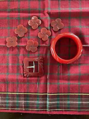 Vintage Red Bakelite Bangle/Bracelet, Belt Buckle, and Six Buttons