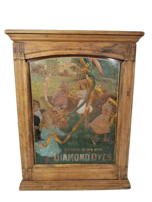 Rare Antique 1890s Diamond Dye Oak & Tin Litho Display Cabinet Store Advertising