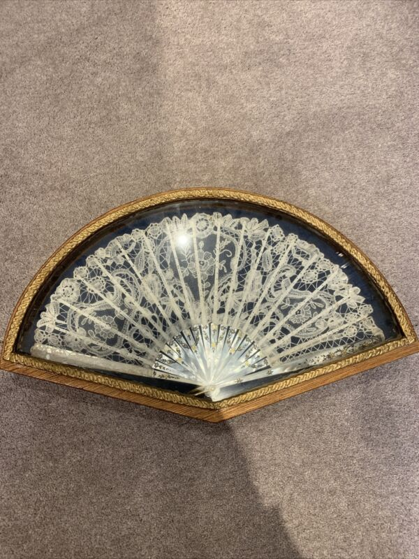 Stunning Antique Hand Fan Lace And Mother Of Pearl Framed Wall Case Box
