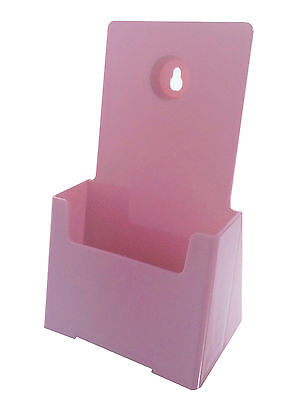Pink Tri Fold Brochure Holder Wall Mount Desk Top 4 W
