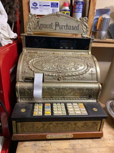 Old Vtg Brass NATIONAL Digital Display 350 Cash Register Amount Purchased W/Keys