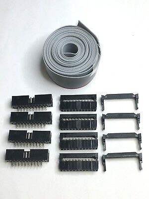 Flat 20 Pin Wires Idc Ribbon 6 Ft. Long 25mm Wide 4 Set Of Connector