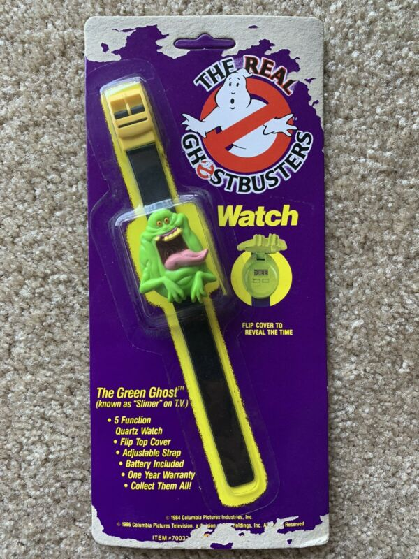 Rare Black Band Vintage THE REAL GHOSTBUSTERS WATCH SLIMER THE GREEN GHOST