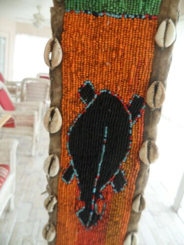 YORUBA Beaded CEREMONIAL PANEL with Cyprea Cowrie Shells; Antique Ethnographic
