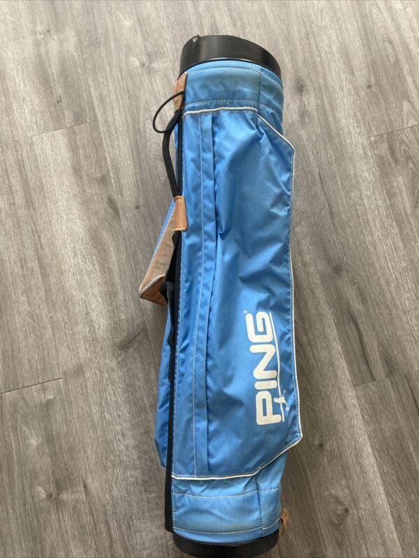 Vintage Ping Sunday Carry Lightweight 4 way divider Light Blue Golf Bag Small