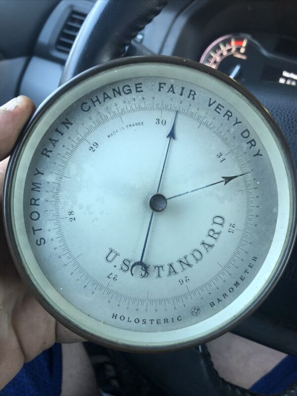 Antique French brass PHNB holosteric barometer