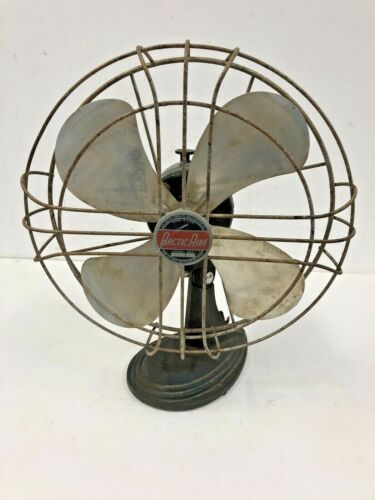 Vintage FA SMITH TABLE FAN oscillating base metal industrial parts repair as is