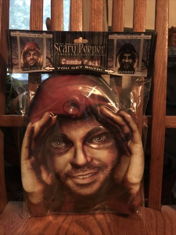 Scary Peeper Combo Pack Original & Zombie Face Halloween Window Decor New