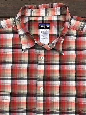 Patagonia Mens Button Shirt Size Large S/S Great Condition Organic Cotton