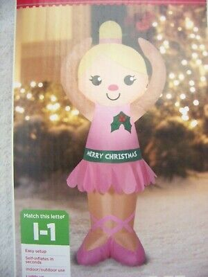 BALLERINA CHRISTMAS INFLATABLE 4 FT TALL YARD DECORATION - NEW IN BOX