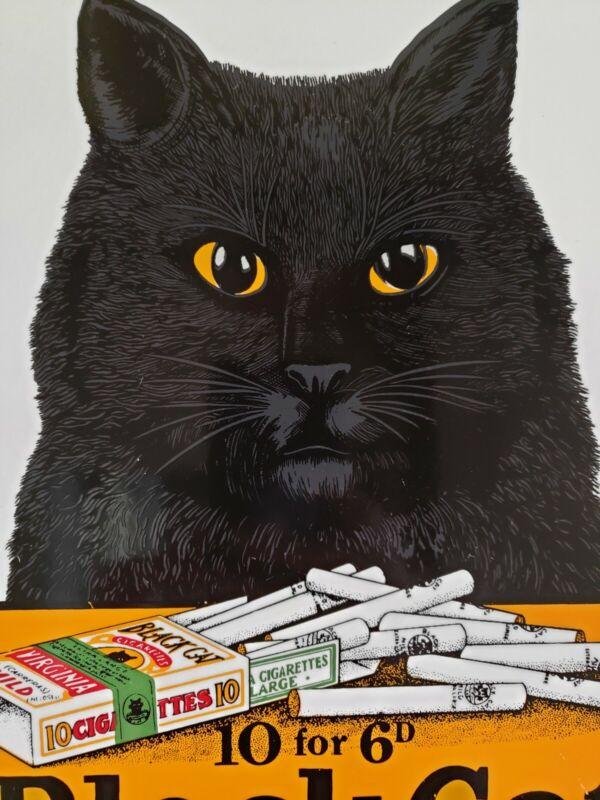 """Black Cat Virginia Cigarettes 12"""" Porcelain Metal Gas Oil Sign Large Vintage Ad"""