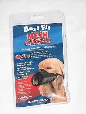 Size 4 Medium Breeds Male Female Puppy Dog Pet Adjustable Mesh Breathable Muzzle
