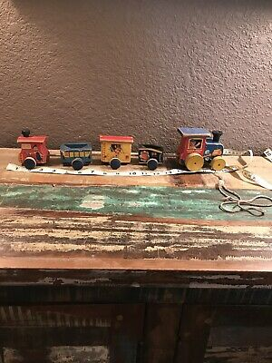 Vintage Fisher Price Choo Choo #215 Wood Pull Toy Train
