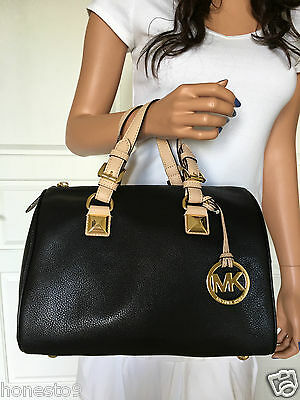 Michael Kors Med Pebbled Leather Satchel Grayson Tote Bag Purse Black/Natural