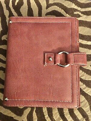 Franklin Covey Plannerbinder - Coral - Leather - Snap - 7.5 X 6 - 1 Rings