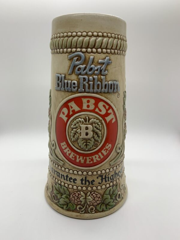 Pabst Breweries Pabst Blue Ribbon Handcrafted Ceramic Beer Stein 1970