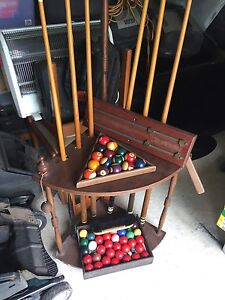 Pool and snooker balls cues rack vintage Panania Bankstown Area Preview