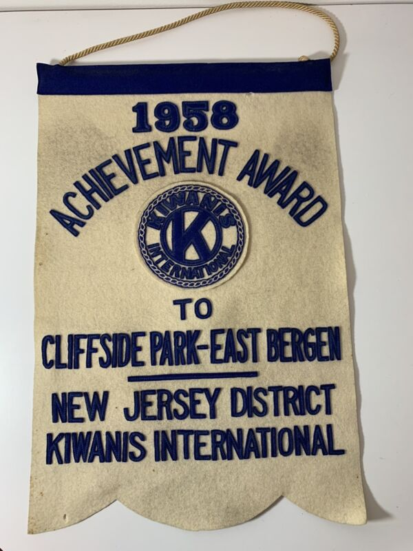 Vintage 1958 Kiwanis Achievement Award Cliffside Park New Jersey Felt Banner
