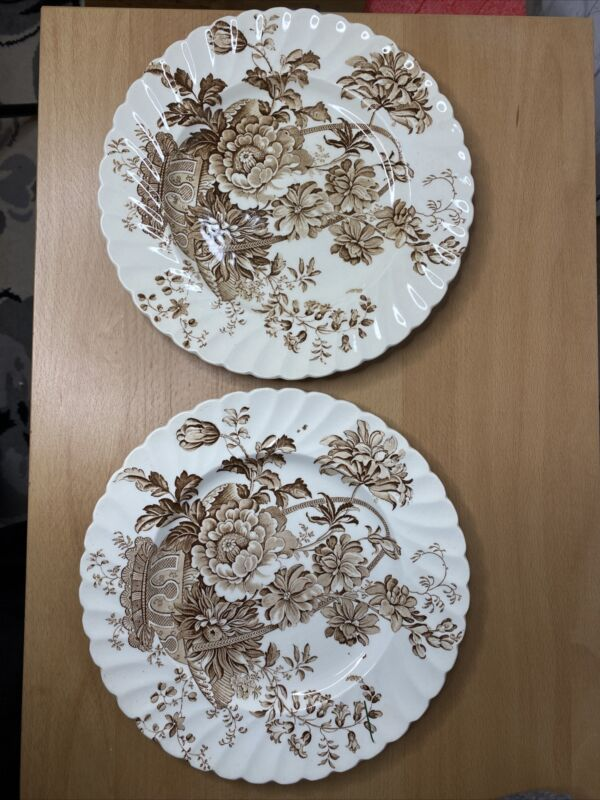 "Royal Staffordshire Charlotte Clarice Cliff Brown 10"" Dinner Plates Pair"