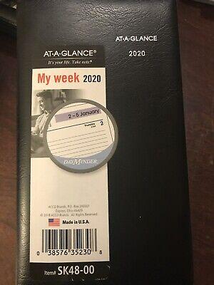 New At-a-glance 2020 Weekly Pocket Planner Dayminder 3-12 X 6 Black Sk4800