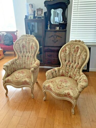 Set His & Hers Antique Style chairs vintage French Queen Ann Carved Flowers