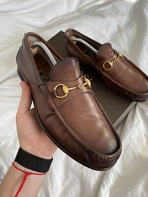 GUCCI Mens Shoes Loafers Moccasin Cocoa Brown Leather Horsebit UK 11  Shaded