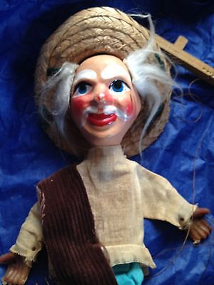 Mexican Puppet Handmade Vintage Antique String Toy Older Male Figurine