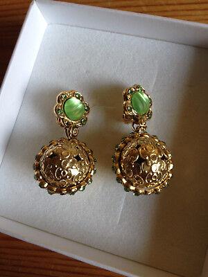Zauberhafte Vintage Ohrringe in goldgrün, nur einmal getragen
