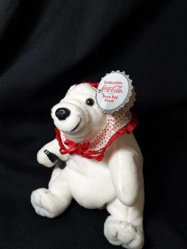 Vintage Collectible Coca-Cola Bean Bag Plush Bear with polka dot collar #0126