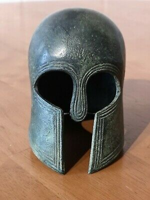 Solid Bronze Reproduction Small Model of Ancient Greek Helmet