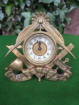 Antique Brass Masonic Mantle / Desk Clock, Fully Working - Rare