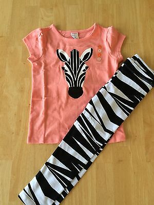 Nwt Gymboree Animal Party Zebra Sequin Tee Shirt Leggings Set 4 5 6 10 Girl