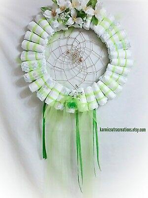 Diaper Wreaths (Green Gender Neutral Diaper Dreamcatcher Wreath Baby Shower Gift 18 Inch)
