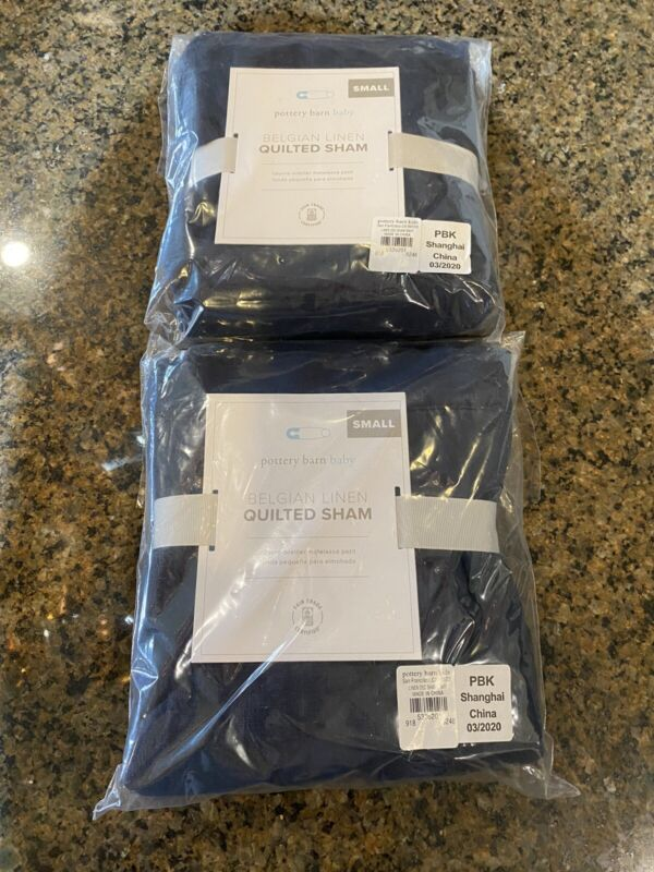 NWT Pottery Barn Baby Belgian Linen Navy Quilted Small Sham - (2)