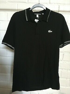 Lacoste Mens Black Polo Cotton Shirt Size 4/M - New with Tags - Regular Fit