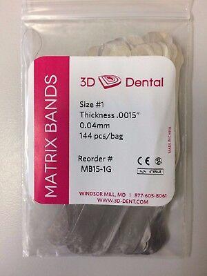 3d Dental Matrix Bands Size 1 Thickness .0015 0.04 Mm 144bag