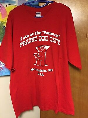 NWOT Prairie Dog Cafe Security Staff T-shirt McLaughlin SD South Dakota XL Red