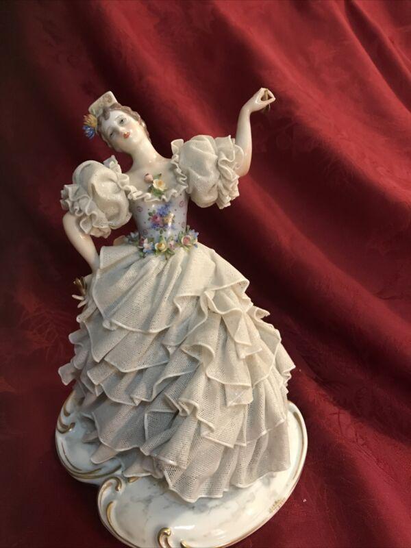 "San Marco Porcelain Lace Figurine Flamenco Dancer Spanish Capodimonte 8"""