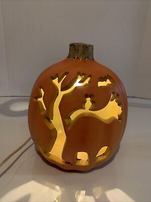 "Halloween Plug In Light-Up Pumpkin Head Tree Bat Cut Out 10"""