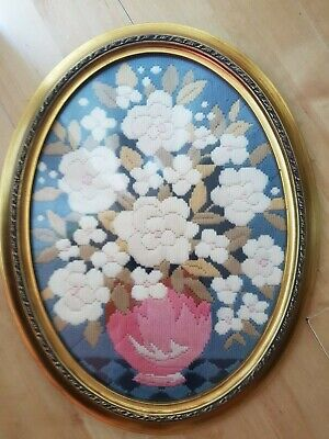 Oval Vase of Flowers Tapestry Picture Embroidered Needlepoint, Dececorative