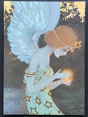 - Blank Art Note Card ANGEL fairy Kirchner NOS Pleiades Press #128 gold foil stars