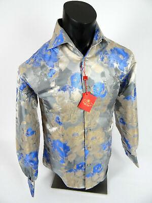 Mens Leonardi Dress Shirt Shiny Blue Floral Patterns French Cuff Button (Shiny Blue)