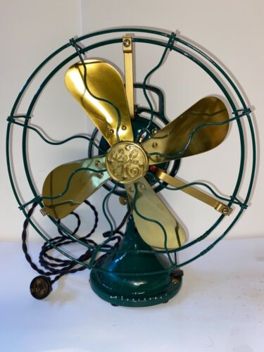 Antique Fan: General Electric G.E.; Brass; Green Paint; Restored
