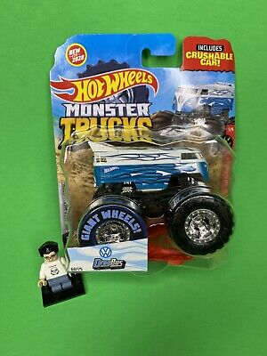 Hot Wheels 2020 Monster Truck 1:64 4x4 Volkswagen Drag Bus White Blue Rare HTF