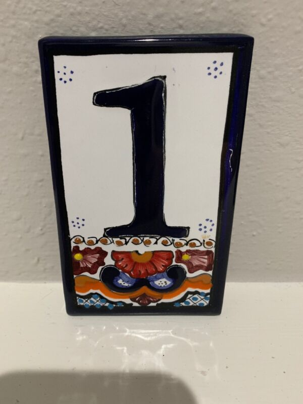 Mexican Tile Talavera Pottery House Number 1 One Tile