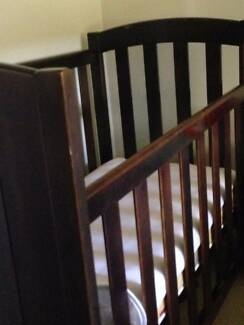 REDUCED Dark stained cot with mattress NO BOLTS Elimbah Caboolture Area Preview