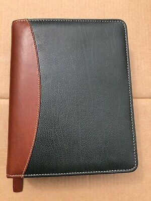 Franklin Covey Quest 7 Ring Planner Green And Brown Verona Leather Gently Used